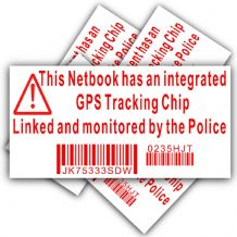 5 x Notebook/Netbook Security Sticker-Fake Dummy GPS Police Tracking Sign-Dell,HP,Apple,Mac